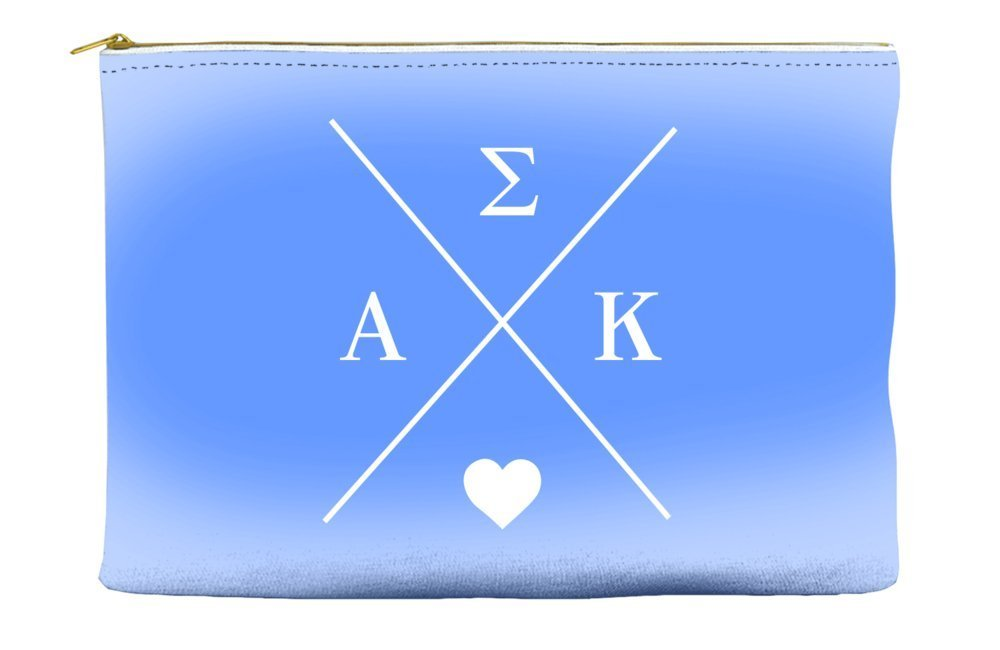 Alpha Sigma Kappa Hipster Logo Purple Cosmetic Accessory Pouch Bag for Makeup Jewelry & other Essentials