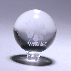 2019 Made in China product a clover shape of 3d laser glass crystal ball craft
