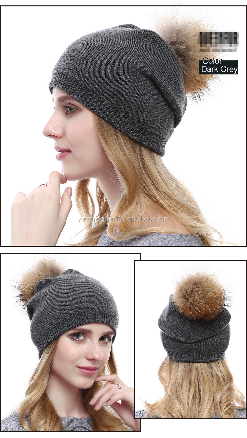 2017 New Arrival Knitted Cashmere Hat Real Raccoon Fur Pompons Hat