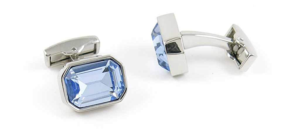 1 Pair Men's Cufflinks ID151187a Classic Faceted Blue Crystal Cuff Links Cadeaux Mariage Partie Chemise Tissu Shirt Party Bouton Classique