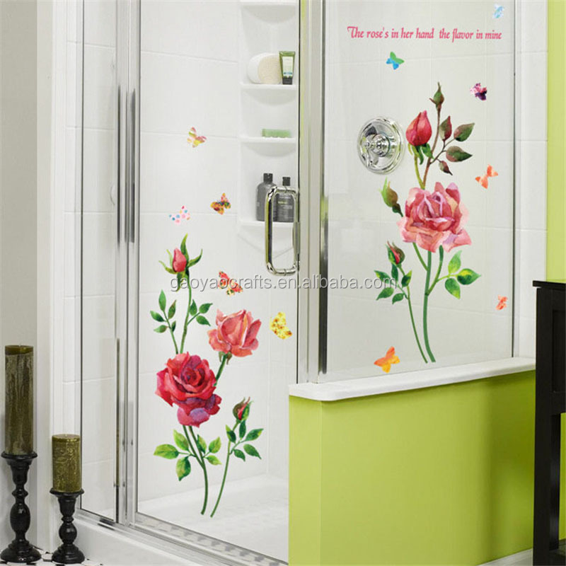 a6de7baa7 Creative Gifts PVC 3D Rose Flower Romantic Love Wall Sticker Removable  Decal Home Decor Living Room