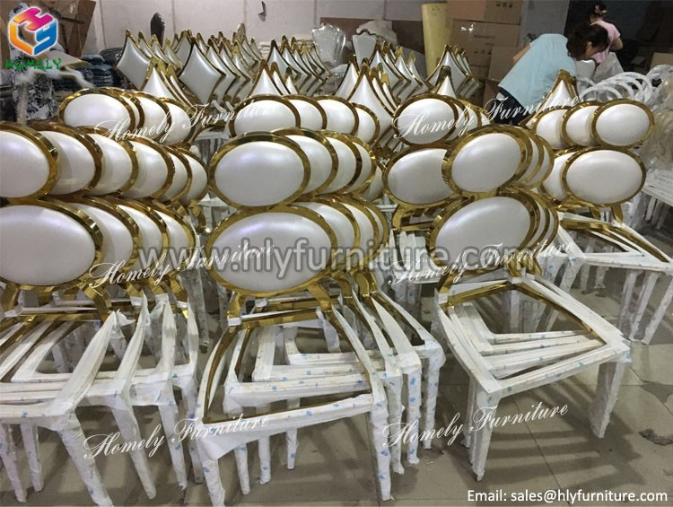 modern leather hotel banquet dining room rose gold new design stainless steel chair for wedding - Stainless Steel Hotel Design