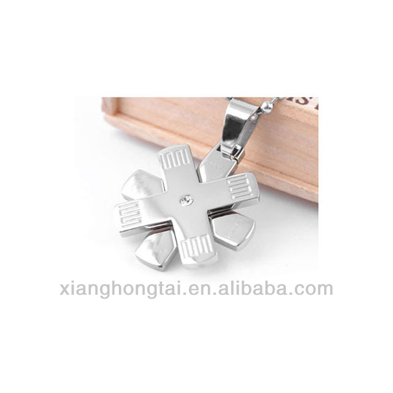 Stainless Steel Double Cross Pendant Necklace with CZ Stone