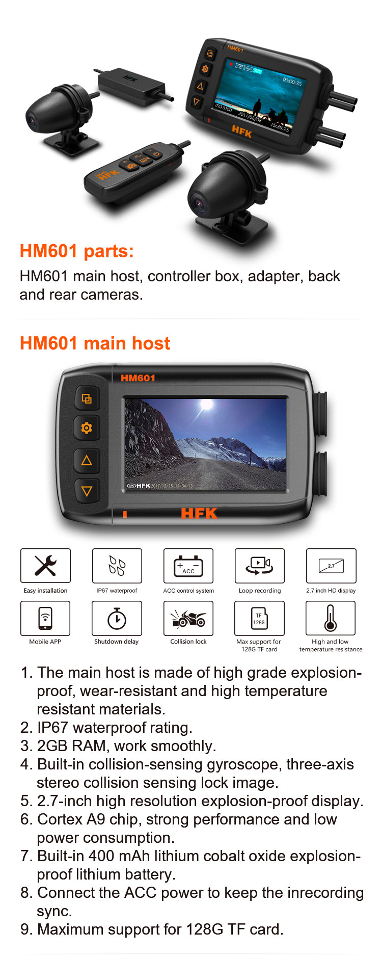 HM601 2.7' HD 1080P Novatek 96663 Chipset G-sensor Car/motorcycle Camera DVR