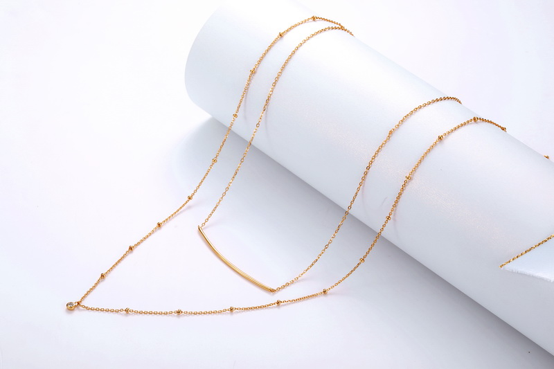 Delicate gold plated women jewellery bobble CZ chain bar 925 silver layered necklace set