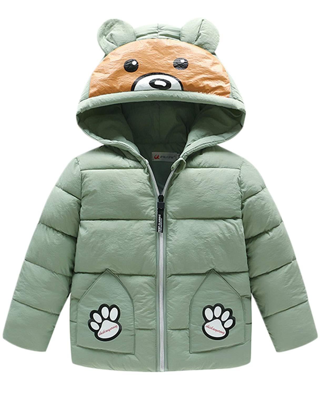 Tronet Kids Winter Raincoat Boys Girls Cartoon Dinosaur Hooded Zipper Coat Toddler Cute Outwear