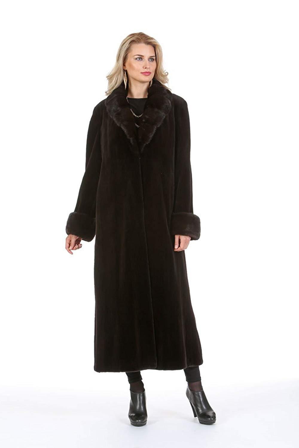 Madison Avenue Mall Dark Brown Womens Sheared Mink Coat Real Natural Crosscut Mahogany Mink Collar