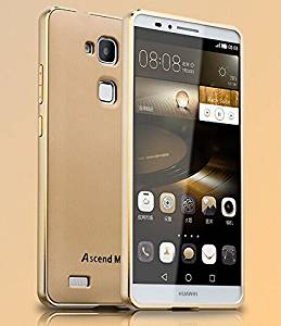 Neway Aluminum Metal Bumper Frame Case with Baking varnish 3D arc rubber[newest version]Shockproof PC Back Plate Cover,include Tempered glass film Screen Protector and clear TPU case,for HUAWEI Ascend Mate7,MBV PC-Golden