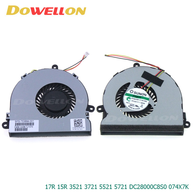 Notebook Laptop CPU Fan Cool 5 V 17R 15R 0.38A para Dell Inspiron 3521 3721 5521 5721 DC28000C8S0 074X7 K
