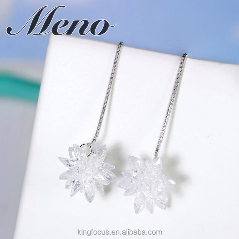 Meno s925 silver hoop lady pure and fresh fashion all-match jewelry gift flower eardrop
