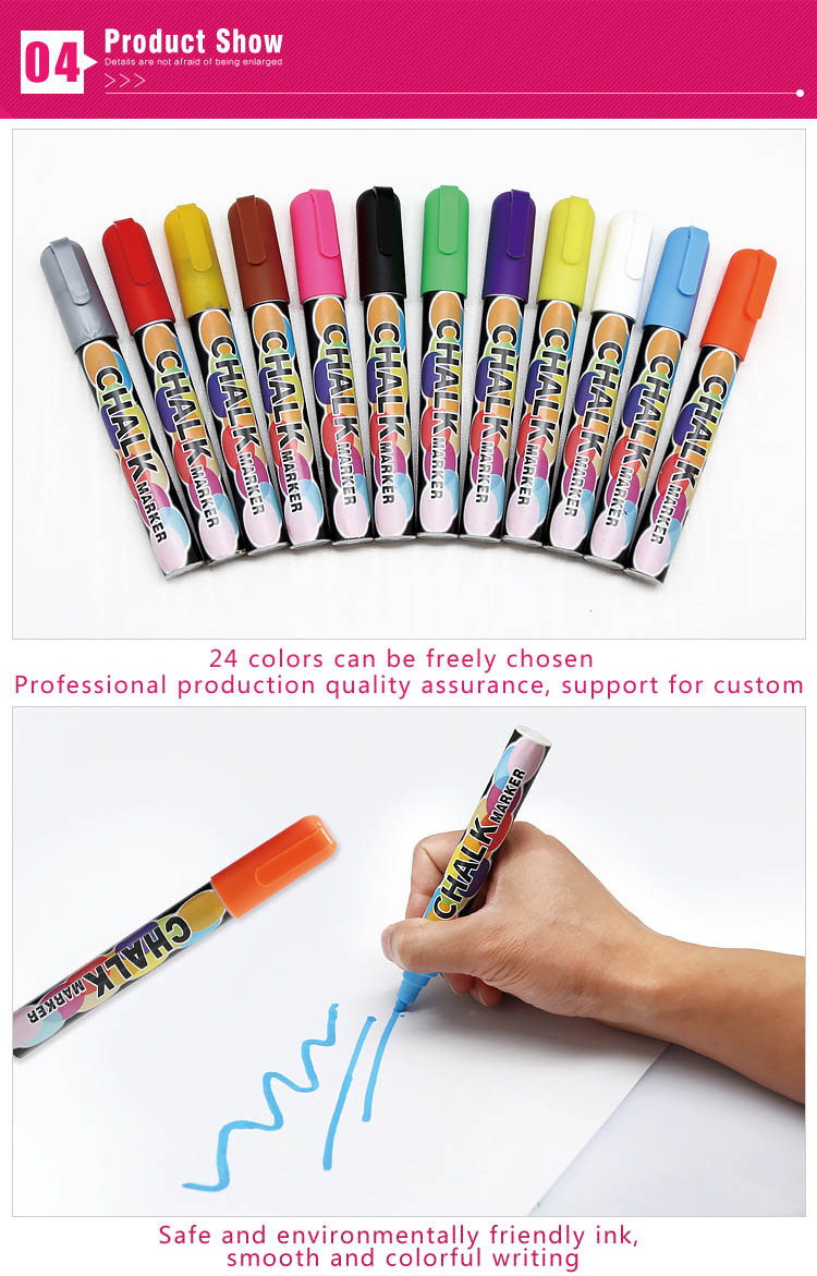 Popular 8 colors 6 mm reversible tip dry erase water based whiteboard chalk paint markers
