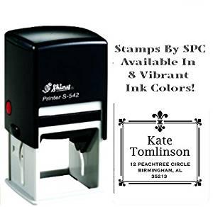 Stamps By SPC // Premium Quality Designer Custom Address Stamp // DESIGN: Fleur-de-Lis Rectangle [SPC2PS], Impression: 1-5/8 x 1-5/8, Available In 8 Vibrant Colors of Ink!