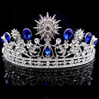 luxury Crystal diamond jewelry sun flower & blue enchantress tiaras crown headwear Baroque vintage imperial brida crown pageant
