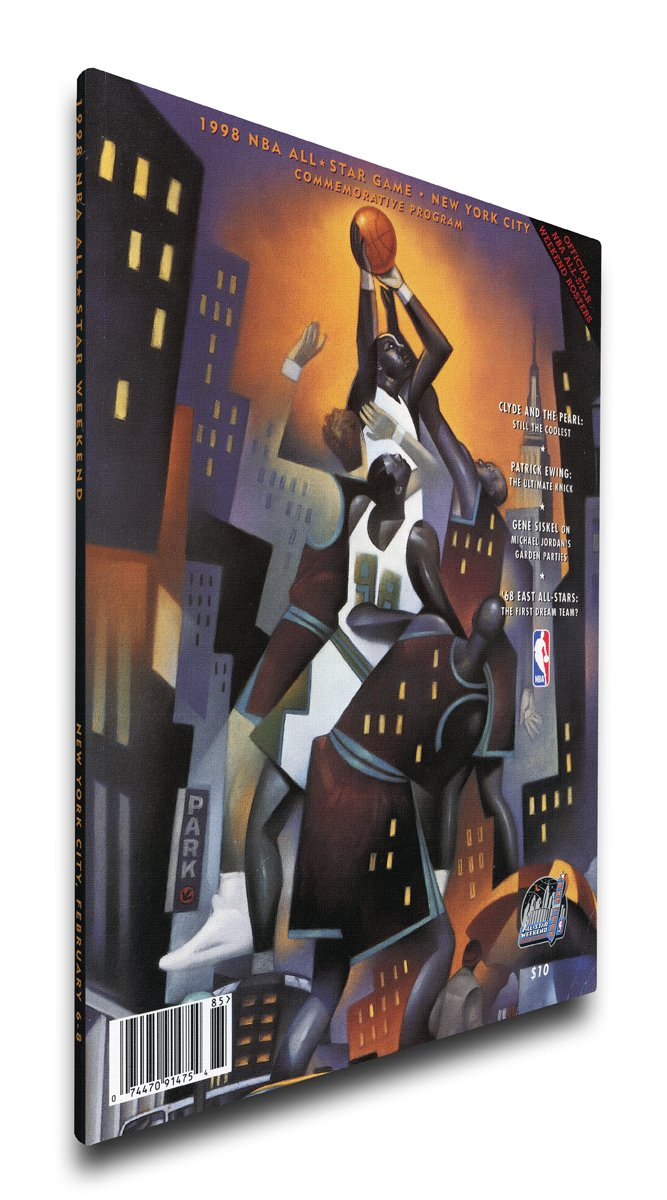 NBA Chicago Bulls 1998 All-Star Game Program Cover on Canvas, 18 x 24-Inch