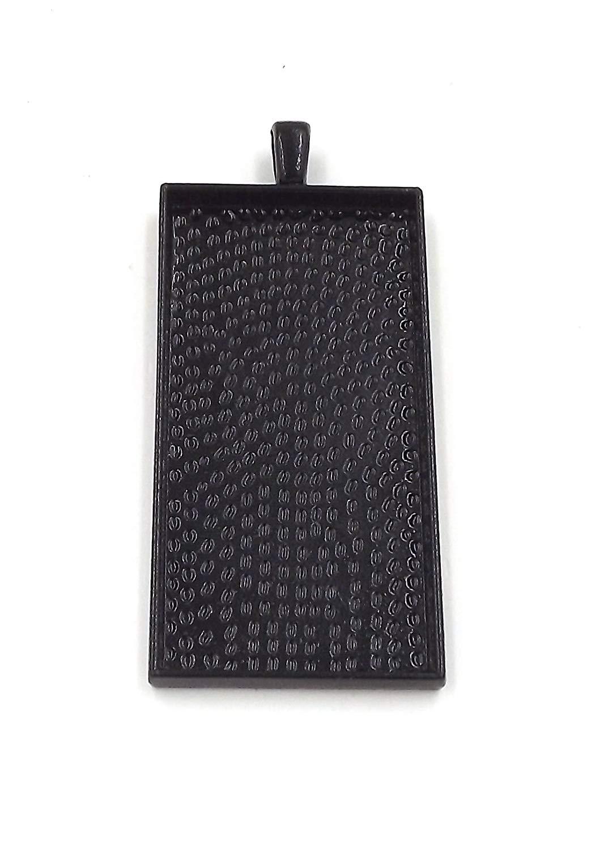 50 Deannassupplyshop Rectangle Pendant Trays - Black Color - 25X50mm - Pendant Blanks Cameo Bezel Settings Photo Jewelry - Custom Jewelry Making