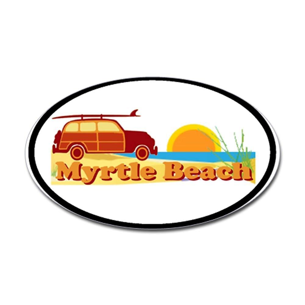 CafePress Myrtle Beach SC - Surfing Design Oval Sticker Sticker Oval - 3x5 White