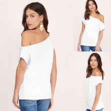 The 2018 summer Europe selling ladies tee collar shoulder Strapless short sleeved blouses