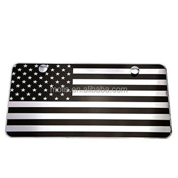USA American Black Chrome Flag Embossed Metal License Plate