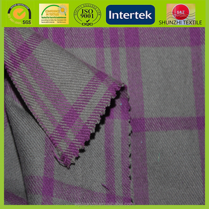 new factory price 100 cotton plaid yarn dyed shirt grey fabric for winter muffler / velvet scarf