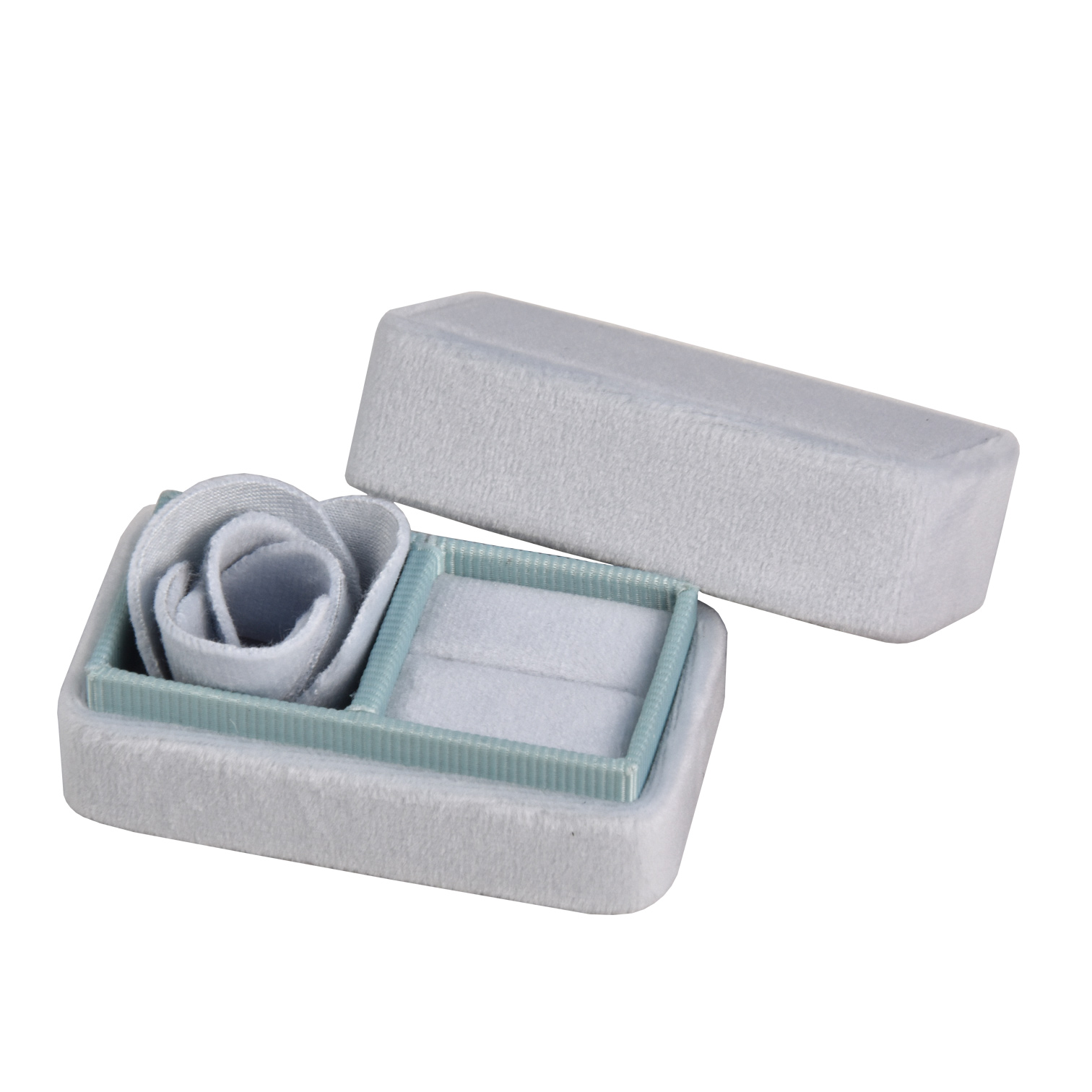 Wholesale custom luxury double vintage mini hexagon velvet logo jewelry wedding ring box with SEDEX CE BSCI packaging box