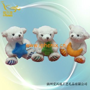 Stuffed toys-sitting bear with star and pine and moon