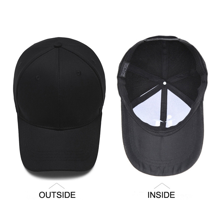 wholesale custom 100% cotton 6 panel plain baseball cap men hat