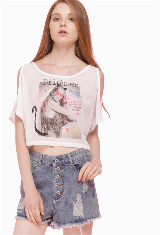 2f03e2aa84 Get Quotations · AAW 2015 summer Europe and America round neck t-shirt sexy  cat girl printing short
