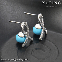 92324 xuping freshwater pearl earring multiple color hairpin type luxury crystal earring