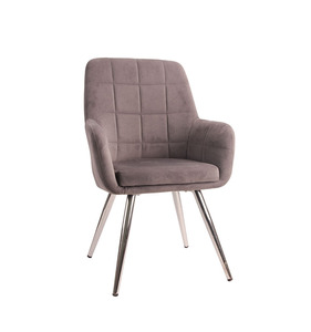 Modern Elegant Steel legs Flannel Cover Accent Furniture Living Room Chairs with High Back
