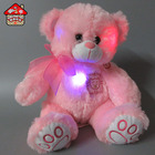 Free sample soft plush teddy bear with colorful changing led light doll toy for lovers