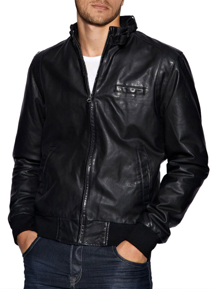 Images of Leather Bomber Jackets For Men - Reikian