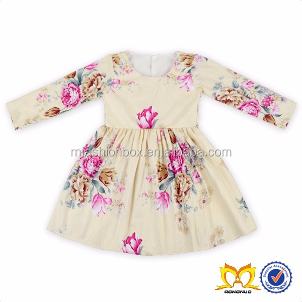 2606f8617 2016 Baby Dress Long Sleeves Flower Baby Dress New Style Girls ...