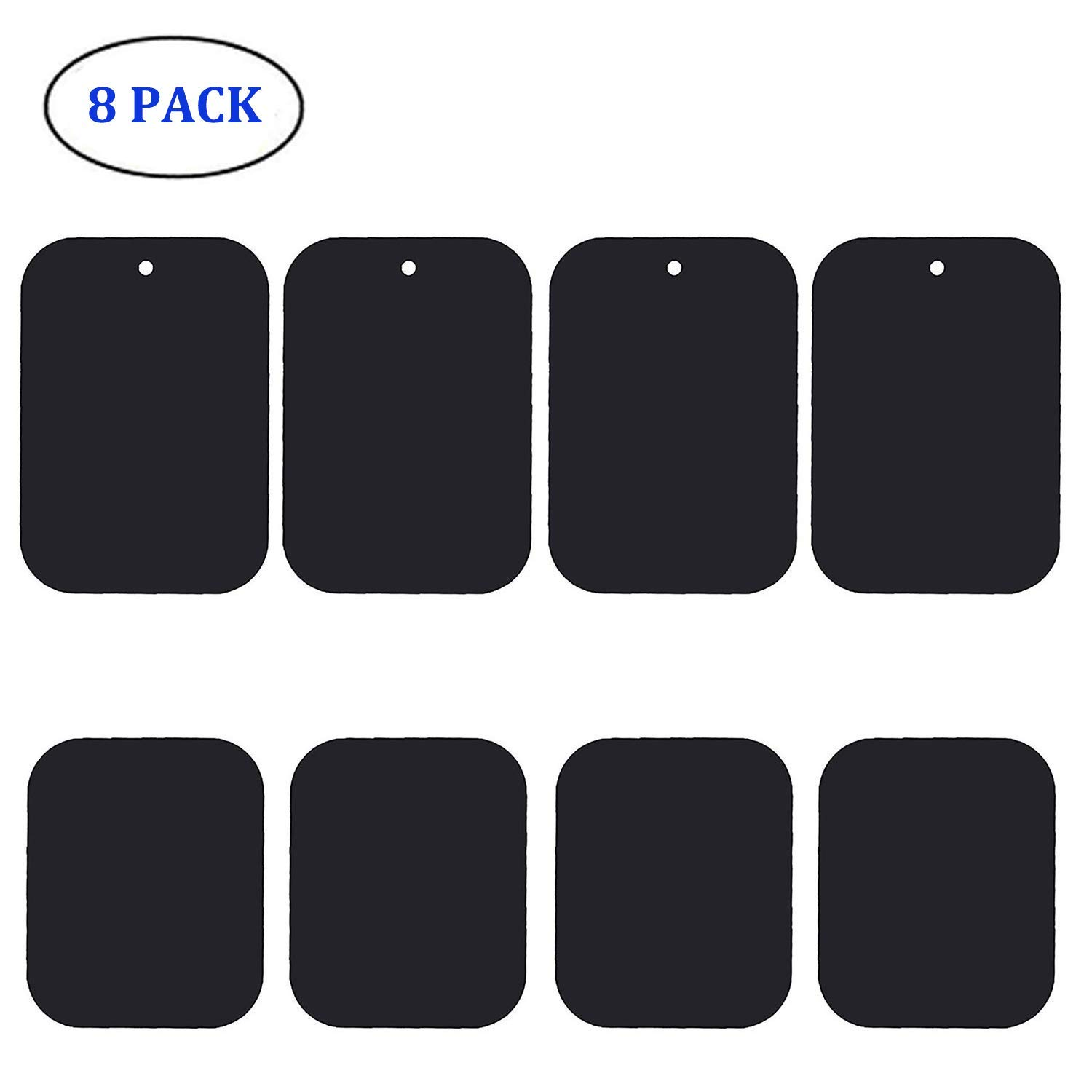 Metal Plate for Magnetic Mount, Bribass 8Pack Replacement Metal Plates with Strong Adhesive for Magnetic Phone Car Mount Holder (Black)