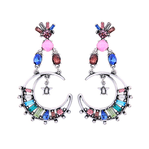 ed00761b Kiss Me Fashion Colorful Crystal Moon Drop 2019 New Statement Earrings Ethnic Party Jewelry