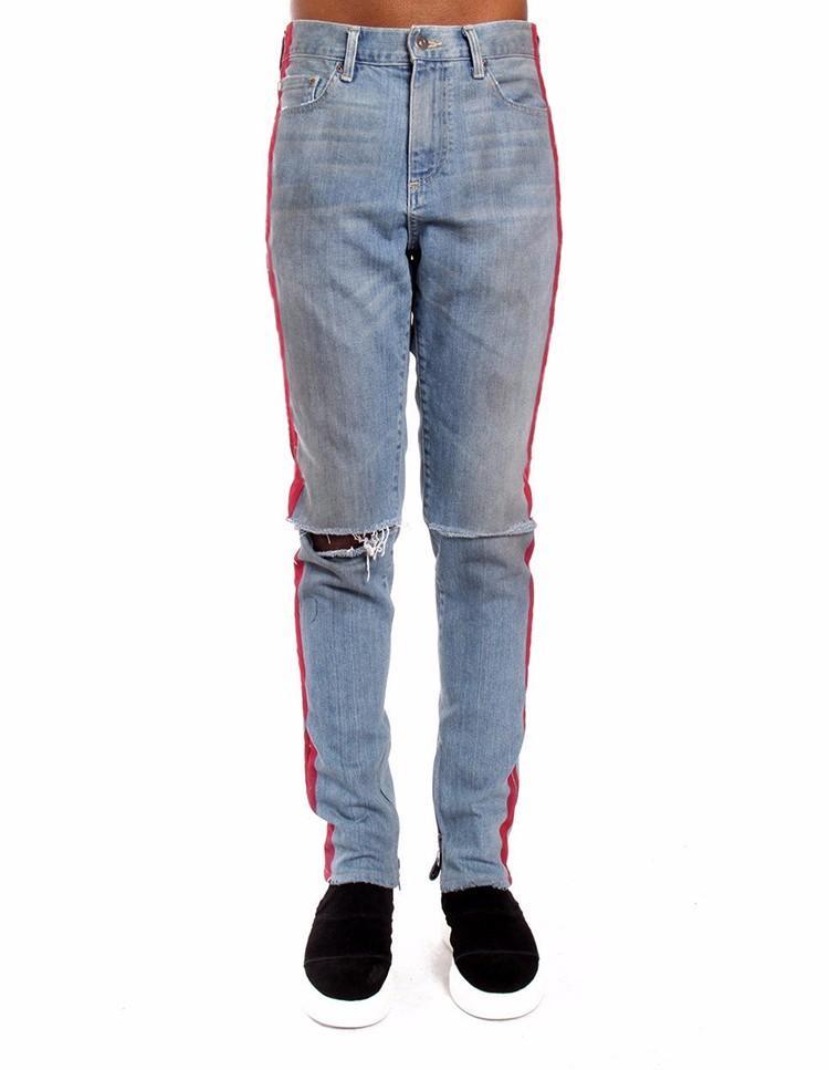 920f605774c65e Royal wolf denim garment factory vintage blue knee ripped ankle zip jeans  red stripe men fashion denim jeans