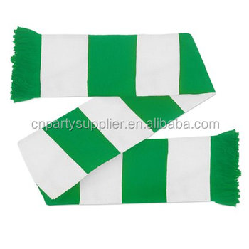 Green and White 100% Acrylic Football Scarf