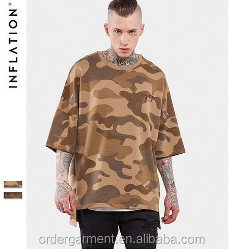 Bulk INFLATION 2017 Men's Oversized Camo Loose Hip Hop Swag Streetwear T Shirts Crew Neck Cotton T-Shirts