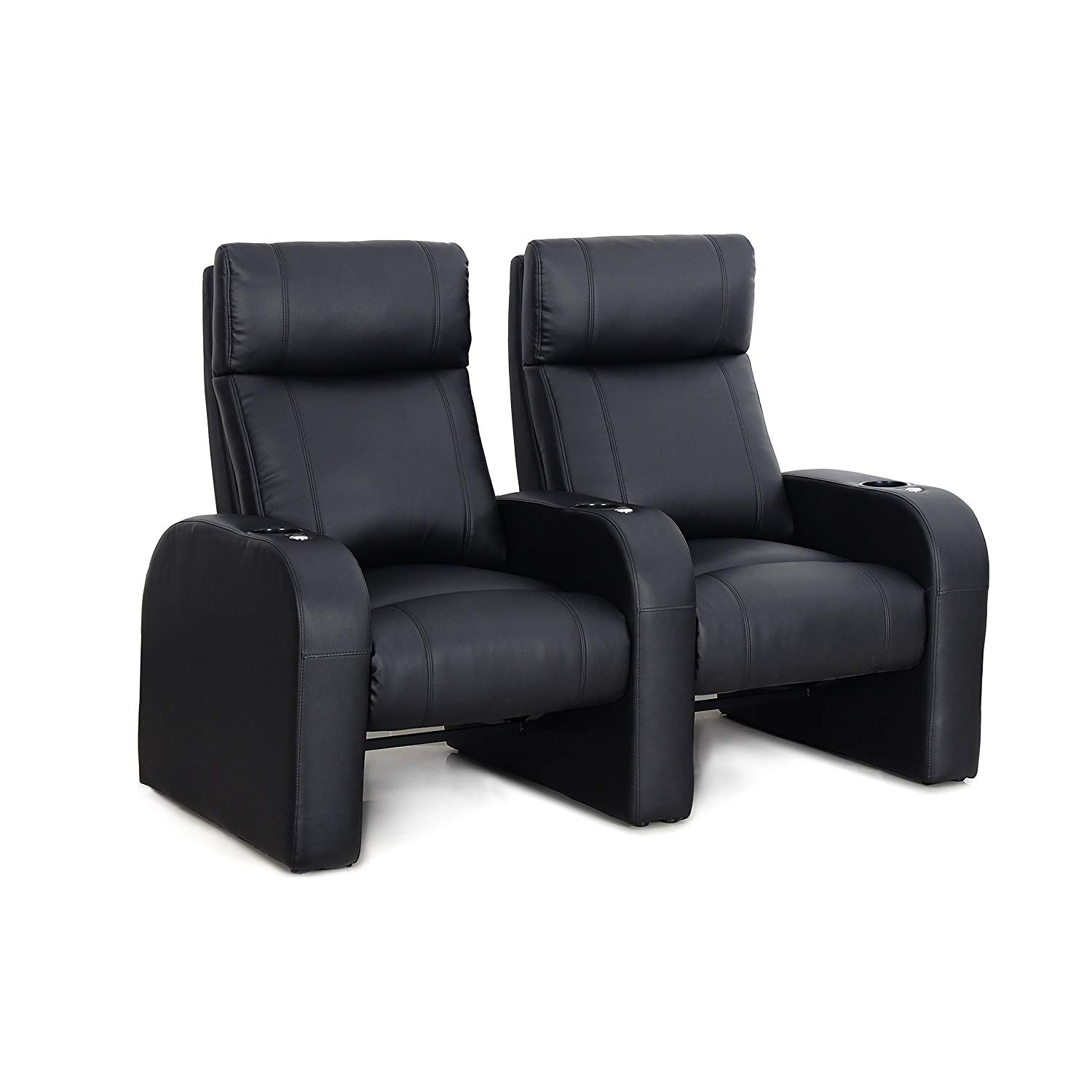 Octane Pulse ZR450 Black Bonded Leather Recliner Home Theater Seating Set (Row of 2)