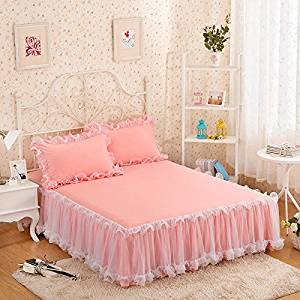 gangnumsky-3Pieces Solid Color Lace Luxury Bedding Sets Queen Bed Sets For Girl Bed Sheet Set Pillow Case Customizable-A