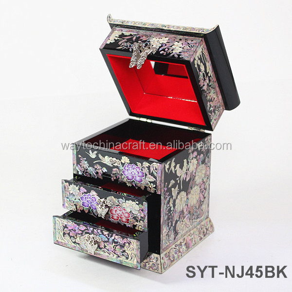 High end wooden jewelry box mother of pearl