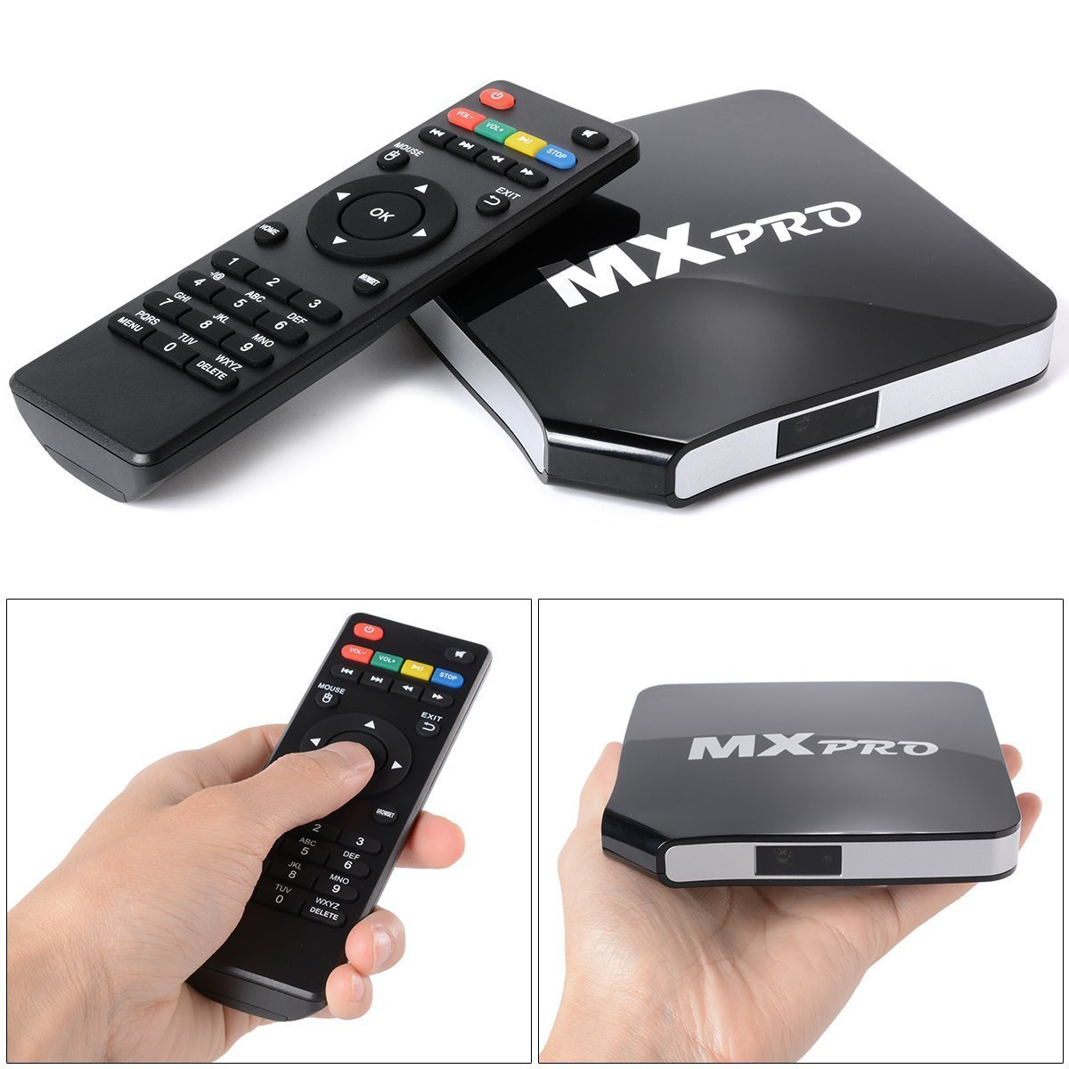 EDW MX Pro Quad Core TV Box Android 4.4.2 Set To Box - Free Movies & TV with NEW FULLY LOADED KODI (XBMC) Smart Media Player HD 1080P Mali 450 Quad Core (MX Pro 1G+8G without retail package)