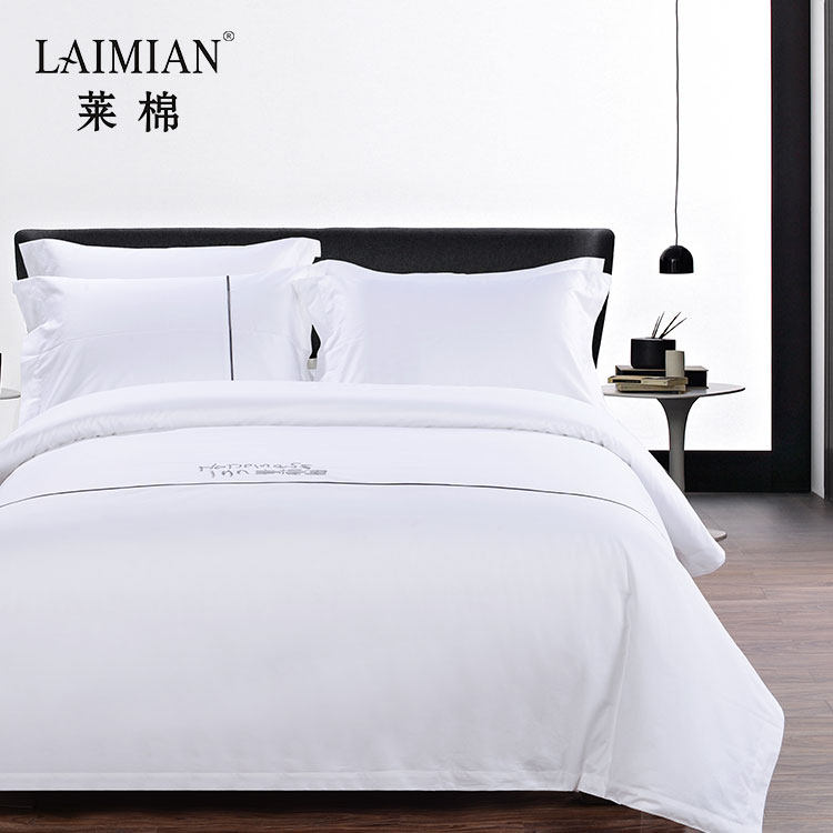 Hotel linen 400T cheap bed sheets embroidery 100% cotton bedding set