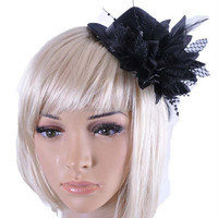 DSFC0008 Lady Hair Fascinator Top Hat Feather Evening Party Barrette Fedora Hair accessory