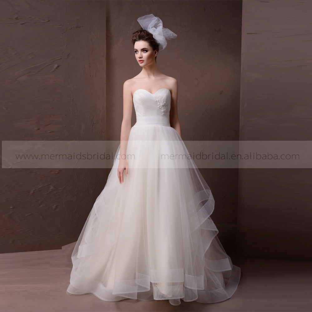 Elegant A Line Heart Shape Pleating Organza Wedding Dress Beaded