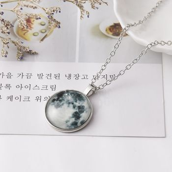 Fashion Style Jewelry Lunar Eclipse Series Glass Dome Cabochon Glow In The Dark Star Night Pendant Necklace