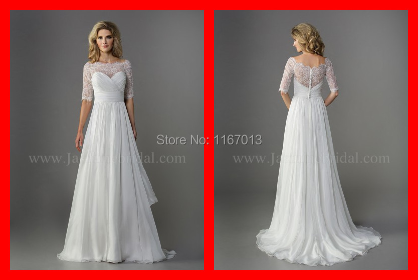2015 Real Simple Chiffon Beach Long Wedding Dresses With
