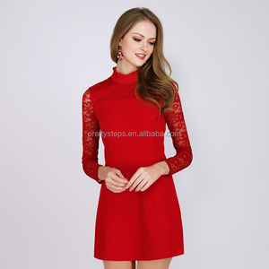 Pretty steps 2018 fashion women dress red midi dresses spring summer 2017 with long lace sleeves