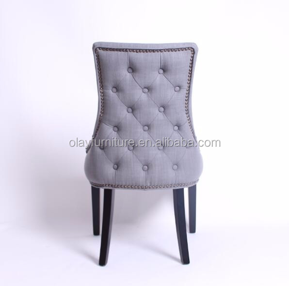 French Style Tufted Fabric Upholstered Dining Chair wooden button dining chair DC-0101