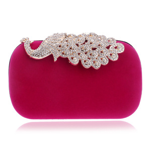 RY1466 Peacock Metal Diamonds Women Evening Bags Day Clutches Bags Chain Shoulder Bags