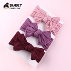 27 color Stock China Direct Factory Sale Low Price Custom Big Bow Baby Hairband Pretty New Cable Knit Girl nylon Headband